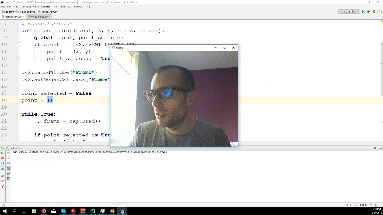 Optical Flow with Lucas-Kanade method - OpenCV 3 4 with