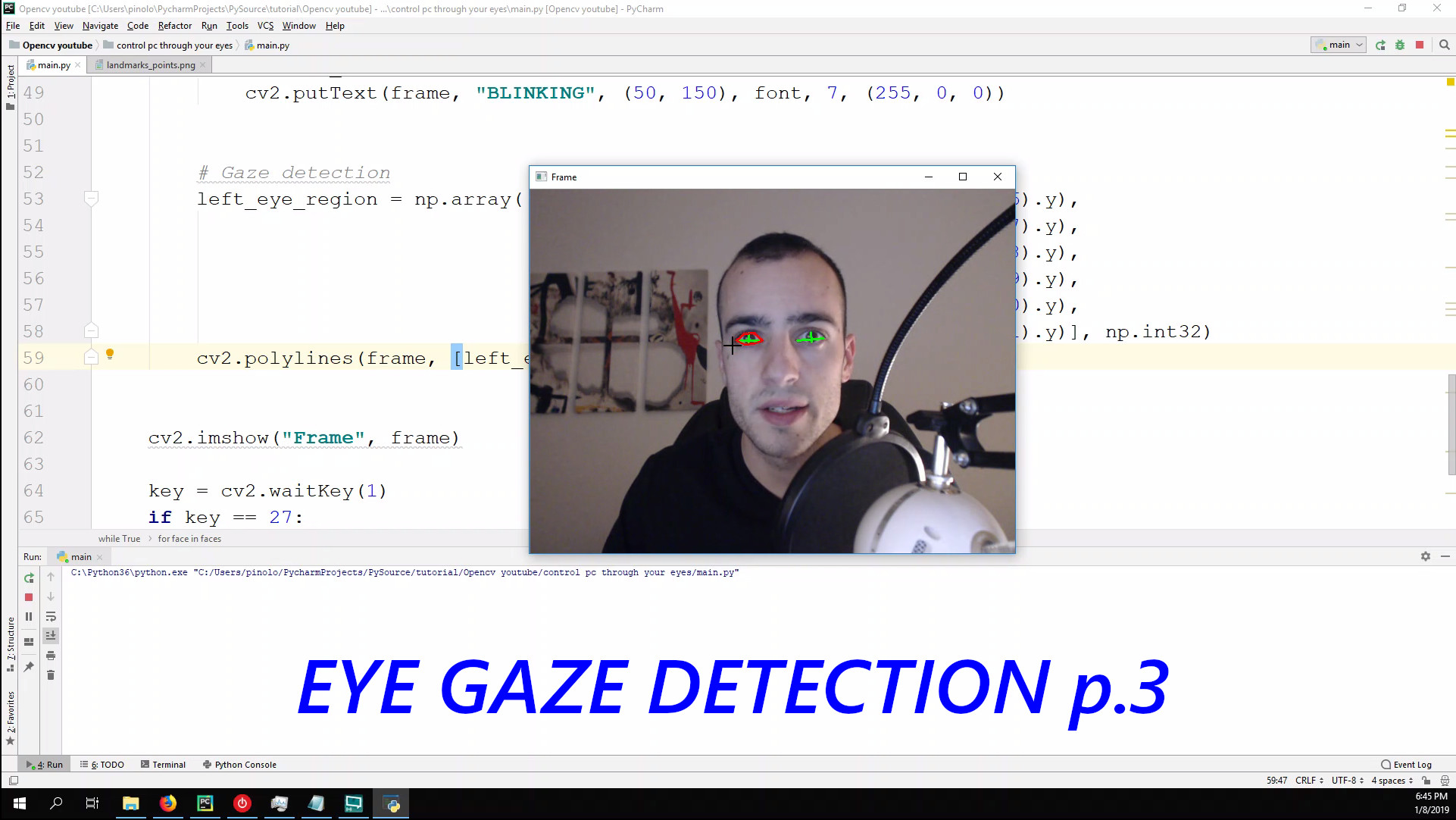 Eye Gaze detection 1 – Gaze controlled keyboard with Python and