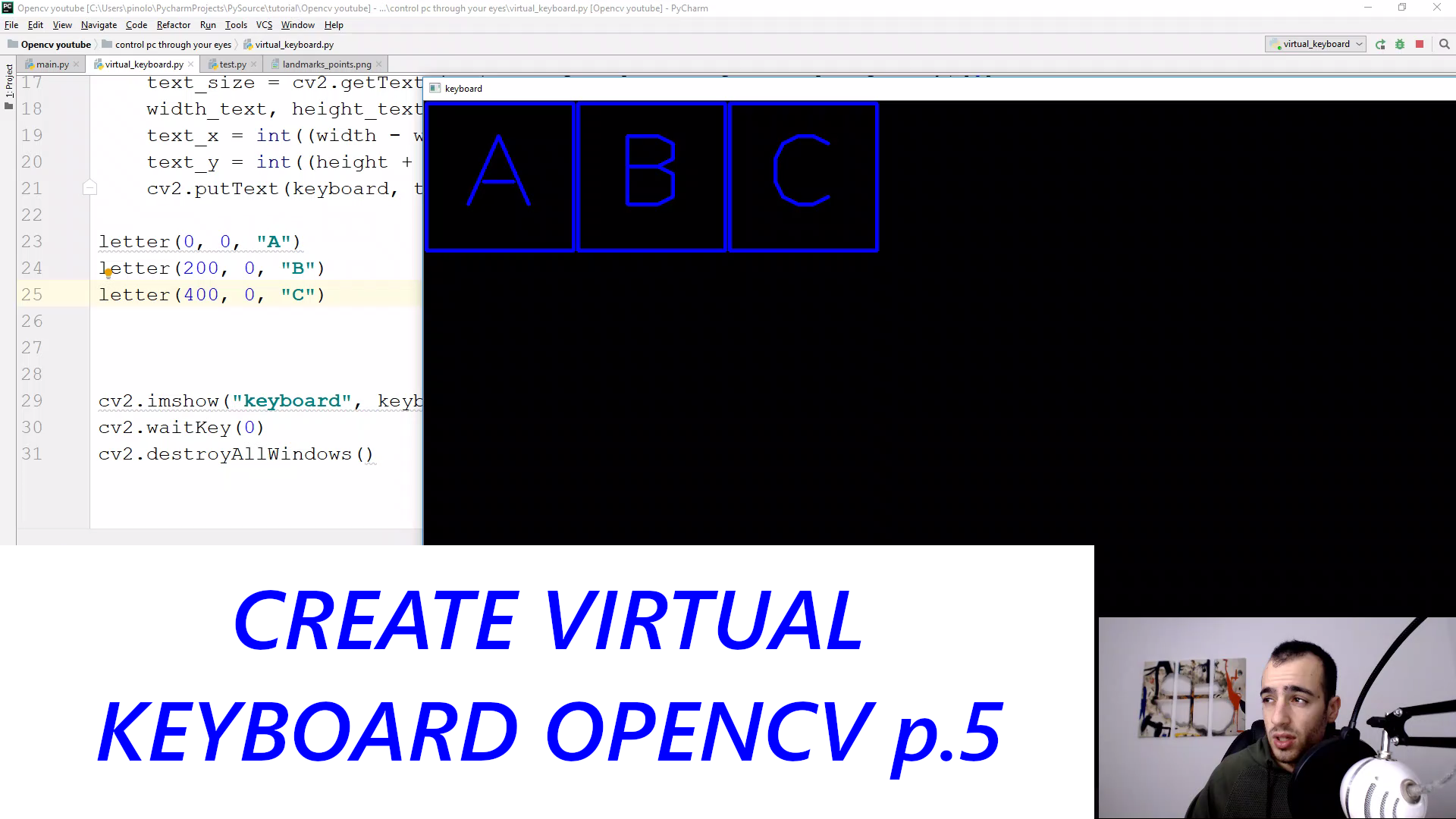 Virtual Keyboard - Gaze controlled keyboard with Python and